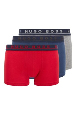 Three-pack of trunks in stretch cotton, Patterned