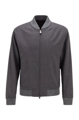 Slim-fit jacket in patterned virgin wool, Light Grey