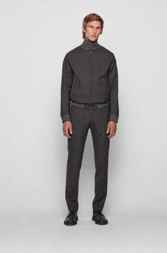 Slim-fit jacket in patterned virgin wool