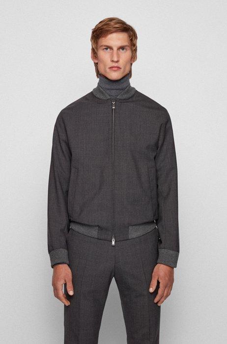 Slim-fit jacket in patterned virgin wool, Light Grey