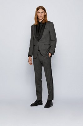 Three-piece slim-fit suit in patterned stretch wool, Grey