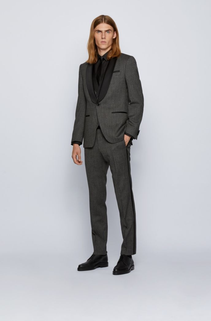 Three-piece slim-fit suit in patterned stretch wool