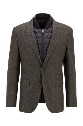 Wool-blend slim-fit jacket with detachable inner, Light Green