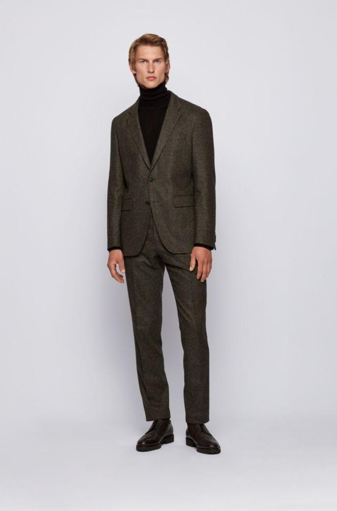 Wool-blend slim-fit jacket with detachable inner