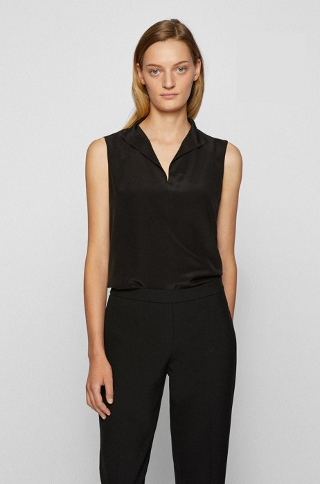 Sleeveless top in sand-washed silk, Black