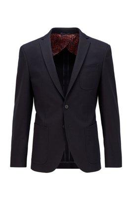 Veste Extra Slim Fit en coton stretch à poches plaquées, Bleu foncé