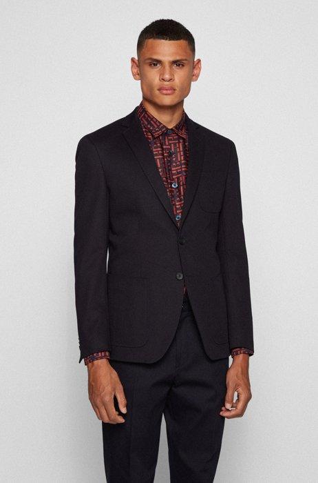 Extra-slim-fit stretch-cotton jacket with patch pockets, Dark Blue