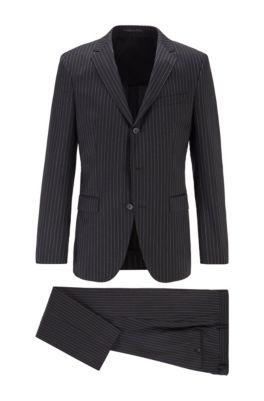 Costume Slim Fit en laine vierge à rayures, Noir
