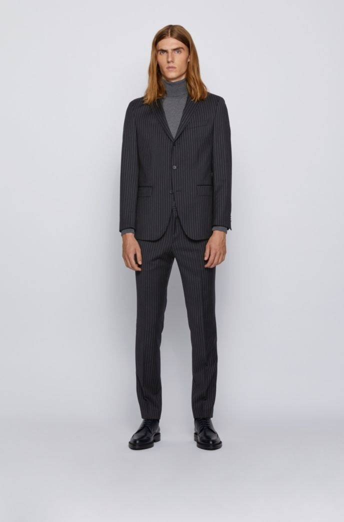 Slim-fit suit in striped virgin wool