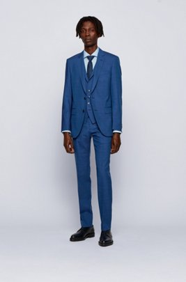 Slim-fit three-piece suit in virgin wool with silk, Dark Blue