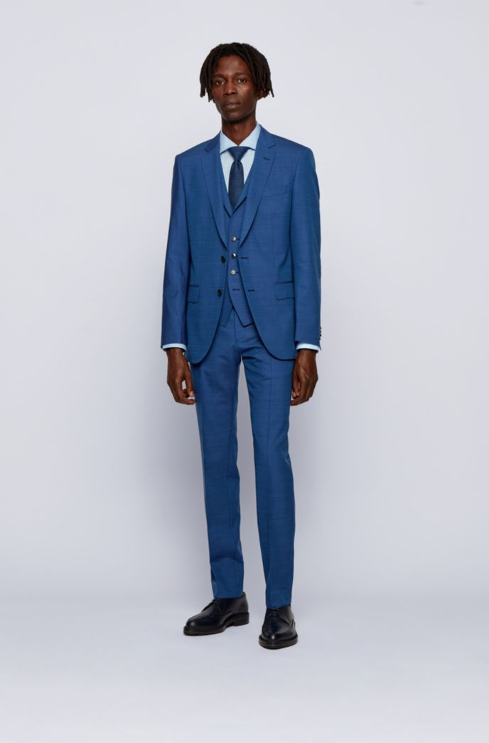 Slim-fit three-piece suit in virgin wool with silk