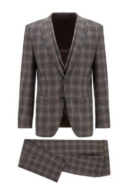 Slim-fit three-piece suit in checked stretch wool, Grey