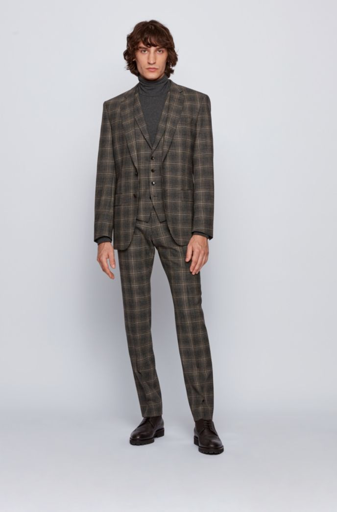 Slim-fit three-piece suit in checked stretch wool