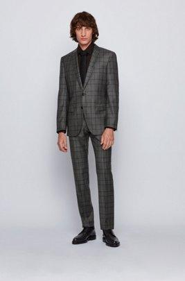 Slim-fit suit in checkered virgin wool, Grey