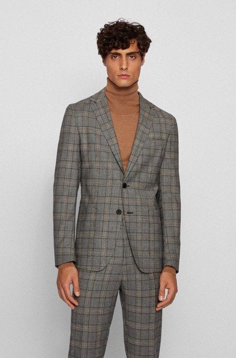 Slim-fit checked jacket in stretch virgin wool, Grey