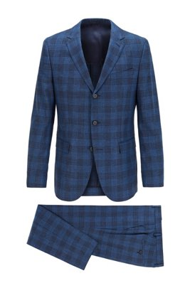 Checked slim-fit suit in wool, cotton and linen, Dark Blue