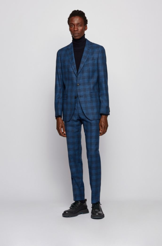 Checked slim-fit suit in wool, cotton and linen