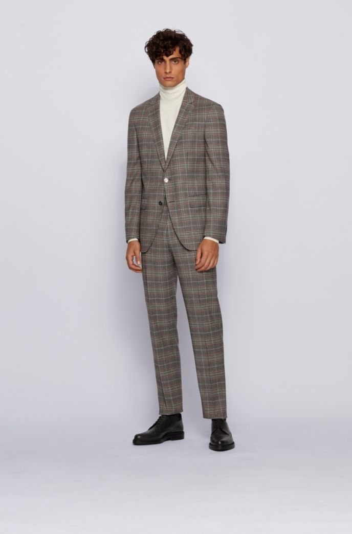 Slim-fit jacket in checked stretch wool
