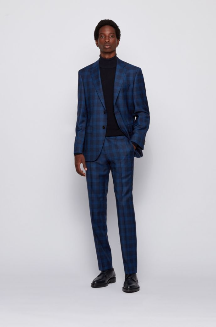 Regular-fit suit in checked virgin wool