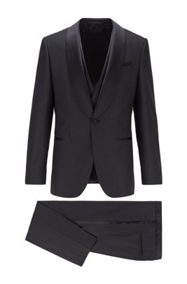 Slim-fit three-piece tuxedo in micro-patterned wool, Black