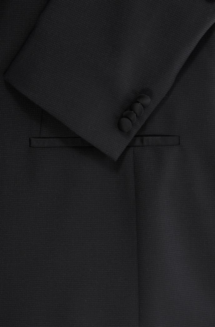 Slim-fit three-piece tuxedo in micro-patterned wool