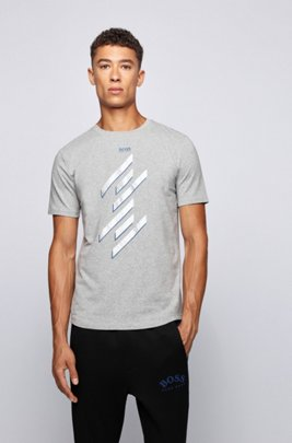 Foil-printed T-shirt in organic stretch cotton, Light Grey