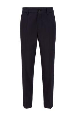 Pantalon court Relaxed Fit en coton stretch, Bleu foncé