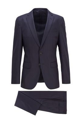 Slim-fit suit in micro-patterned stretch virgin wool, Dark Blue