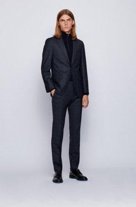 Checked slim-fit suit in stretch virgin wool, Dark Blue