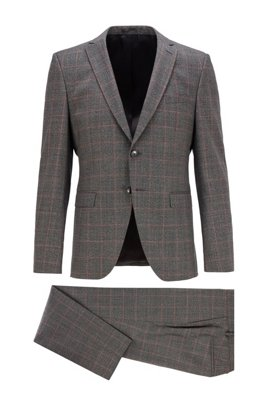 Extra-slim-fit suit in checkered virgin wool, Grey