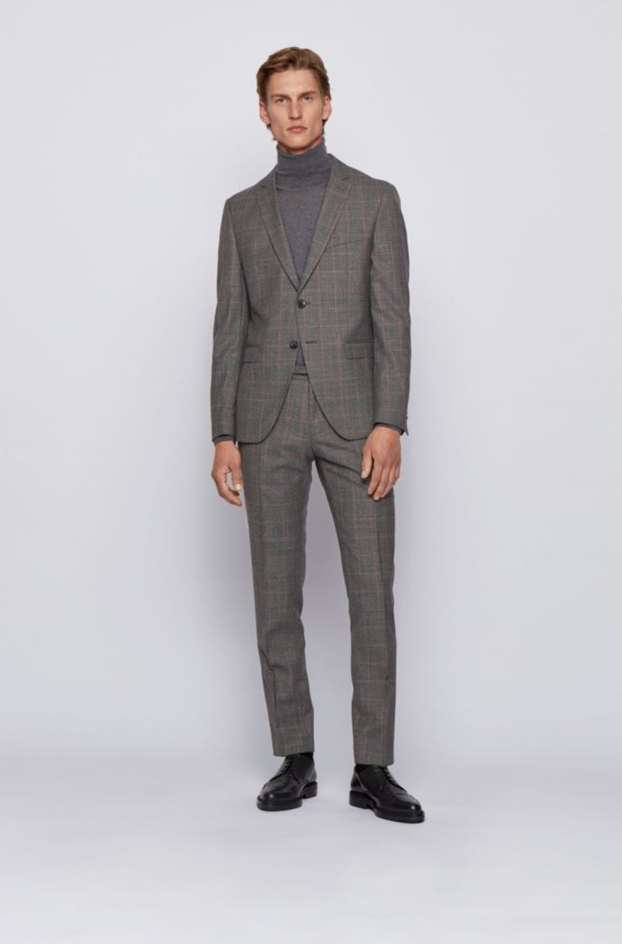 Extra-slim-fit suit in checkered virgin wool