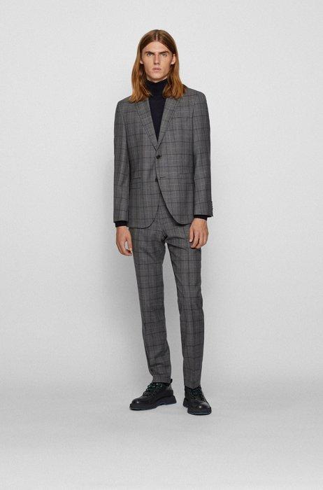 Regular-fit suit in checked virgin-wool serge, Grey