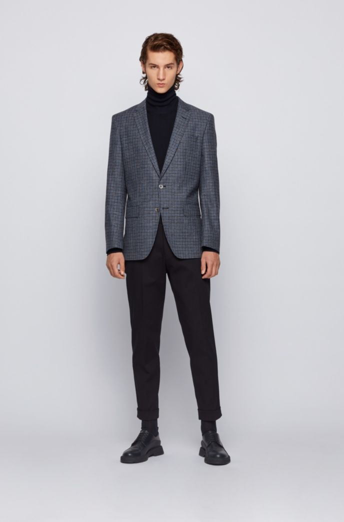 Melange-checked slim-fit jacket in wool, cotton and linen