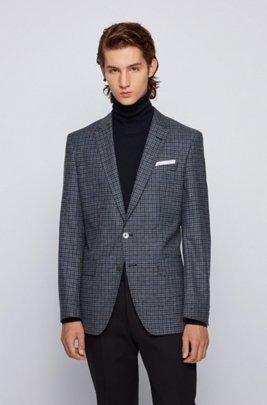 Melange-checked slim-fit jacket in wool, cotton and linen, Dark Blue
