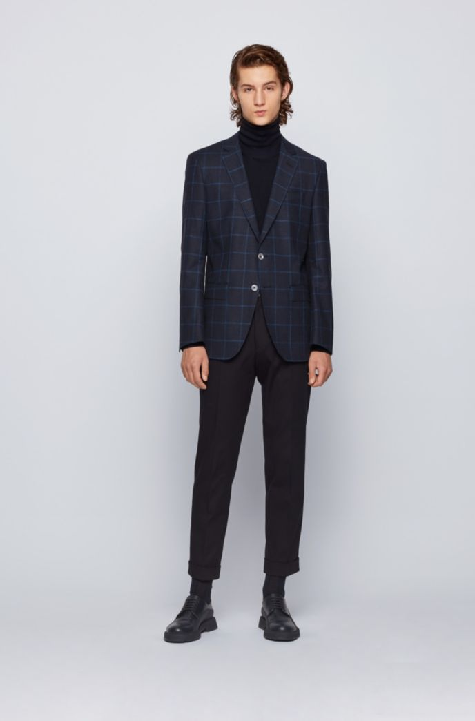 Windowpane-checked slim-fit jacket in wool, cotton and linen
