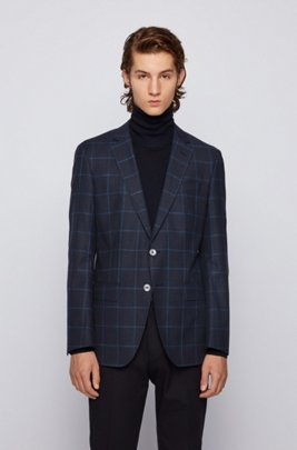 Windowpane-checked slim-fit jacket in wool, cotton and linen, Dark Blue
