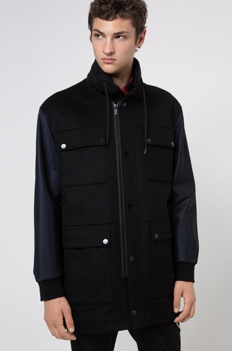Hybrid-outer padded jacket with stand collar, Black