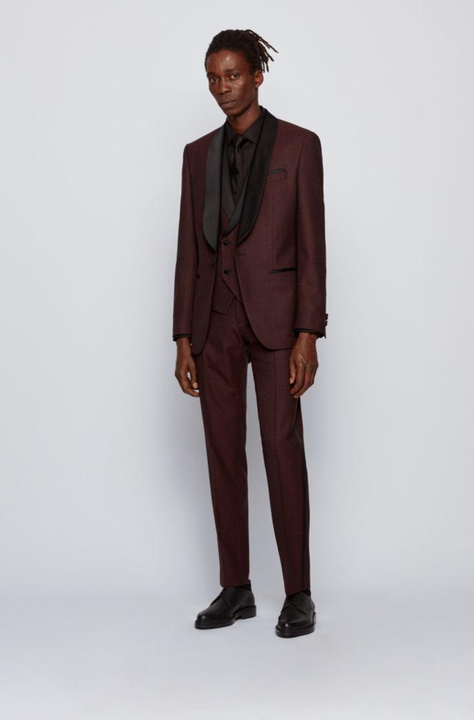 Slim-fit three-piece tuxedo suit with silk trims