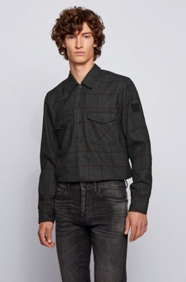 Oversized-fit overshirt with a houndstooth Vichy check, Grey