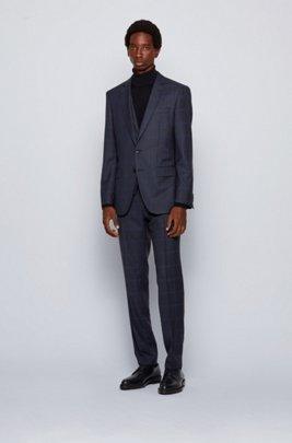 Slim-fit three-piece suit in checked virgin wool, Dark Blue