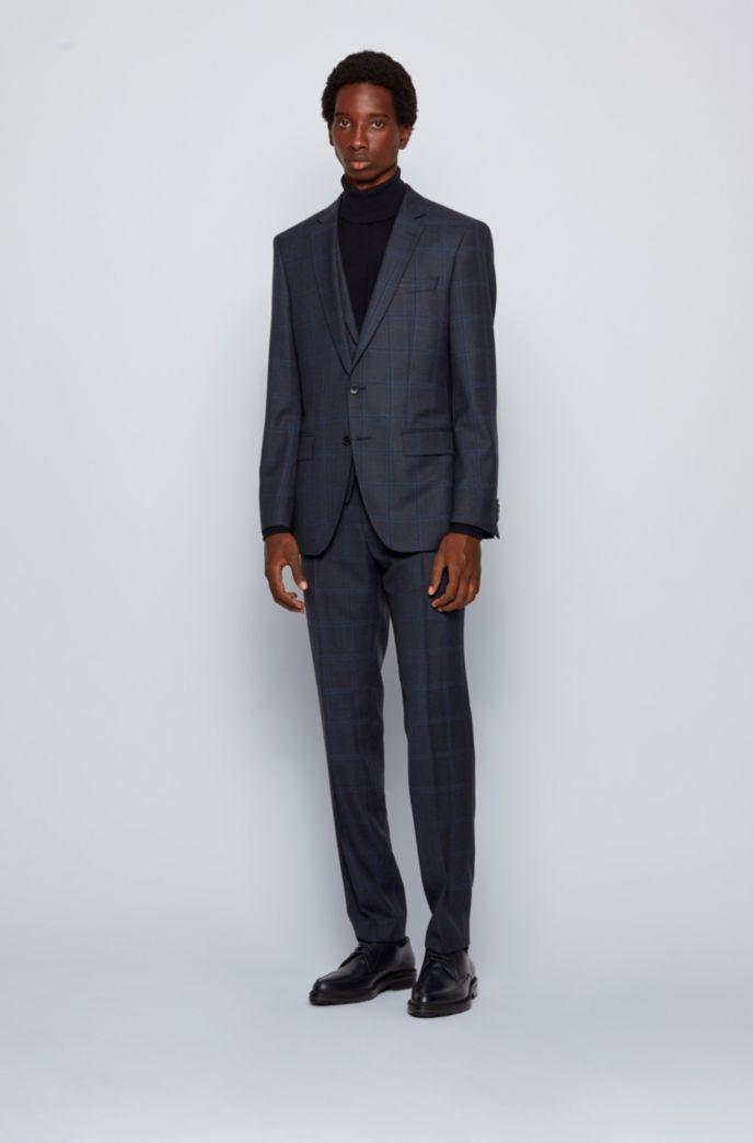 Slim-fit three-piece suit in checked virgin wool