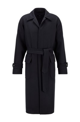 Relaxed-fit belted coat in a herringbone wool blend, Dark Blue