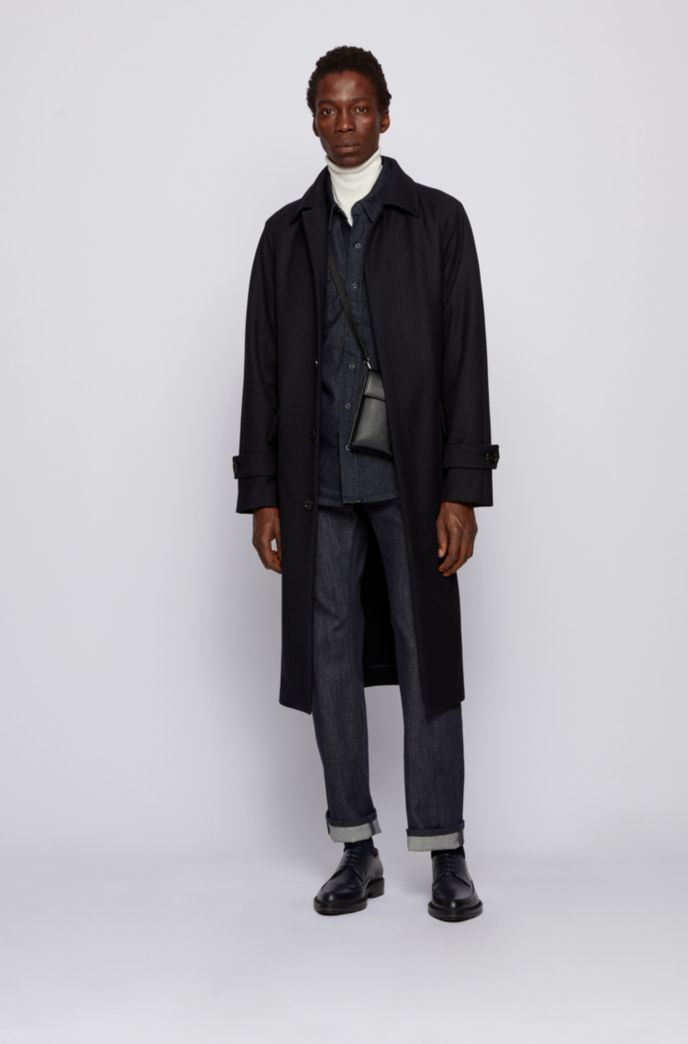 Relaxed-fit belted coat in a herringbone wool blend