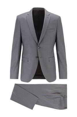 Extra-slim-fit suit in virgin-wool serge, Light Grey