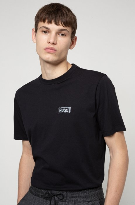 Graphic-print T-shirt in Recot2® cotton, Black