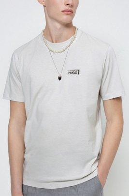 Graphic-print T-shirt in Recot2® cotton, Light Beige