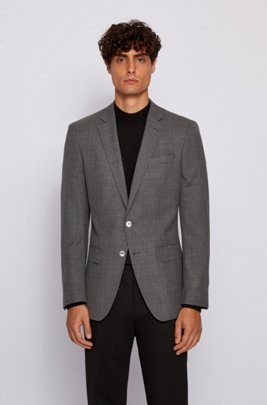 Slim-fit jacket in virgin wool with logo lining, Light Grey