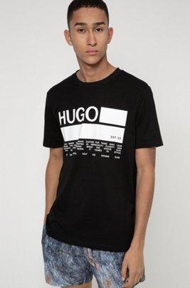 Manifesto-print T-shirt in African cotton, Black