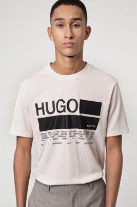 Manifesto-print T-shirt in African cotton, Light Beige