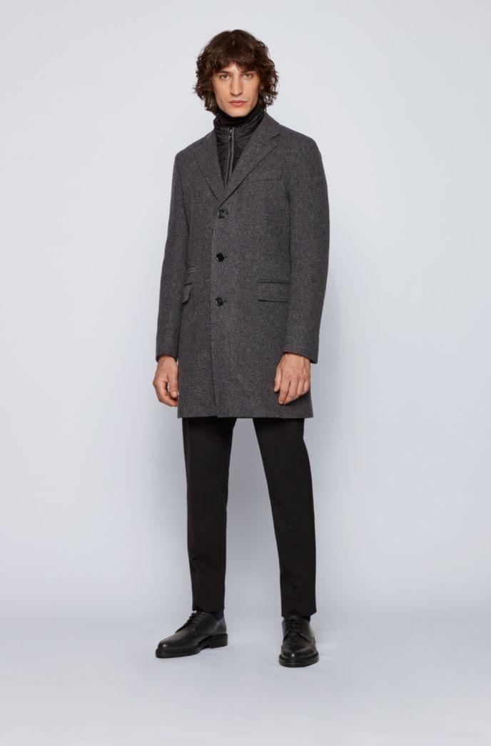 Slim-fit blazer-style coat with detachable inner bib